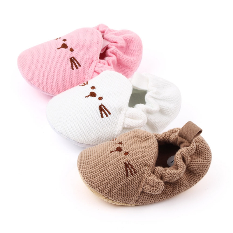 Winter Cute Baby Knitting Shoes Warm Cribe Shoes Soft Sole Non-slip Cartoon Toddler Shoes Infant Boy Girl First Walking Shoes