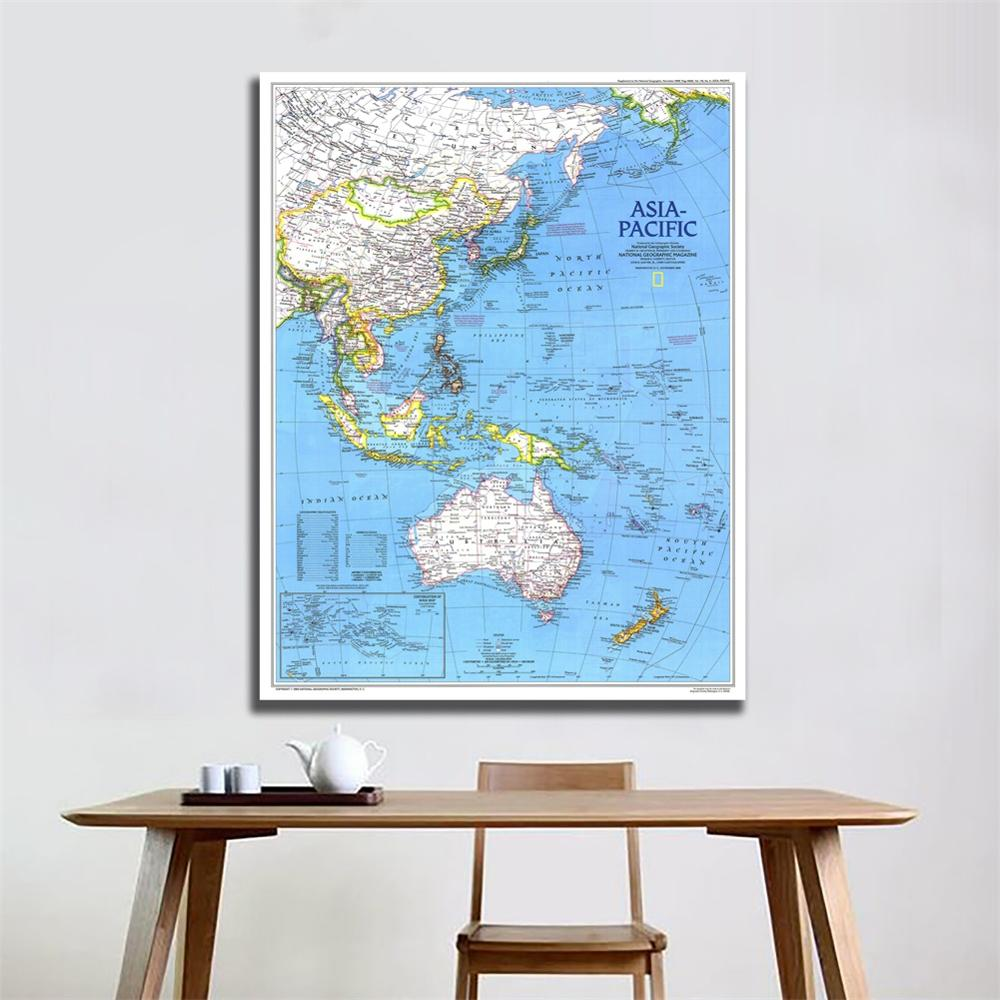 A2 Size Fine Canvas Vinyl Painting HD Printed Wall Art Map Of Asia Pacific 1989 Edition Home Living Room Wall Decor