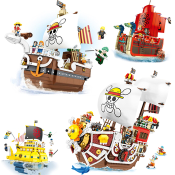 One Piece pirate ship Sunny Merry Submarine Luffy Zoro Nami Figures Caribbean Pirate Ship Boat Building Blocks Toys For Children anime one piece thousand sunny pirate ship figure 35cm thousand sunny boat ship pvc action figures toys collectible model toy