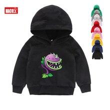 Kids Winter Long Sleeves Hoodies Sweatshirts Kid Game Plants Vs Zombies Print Hoodies Boy Tops Long Sleeves Sweatshirts 2T-8T