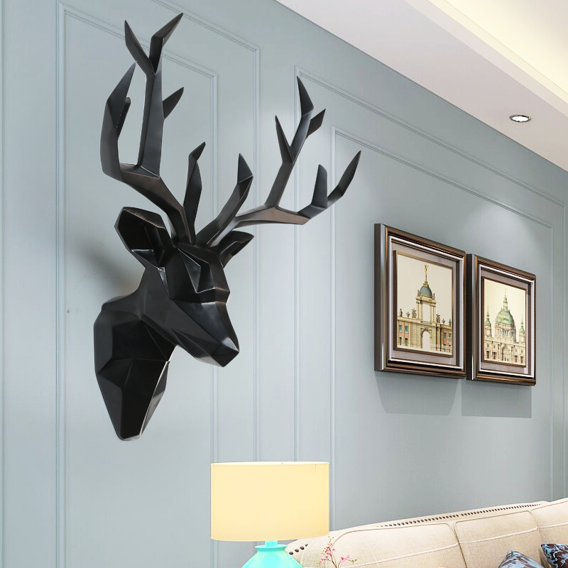 3D Deer Head Decoration Wall Hanging Mural Nordic Retro Home Bar Wall Wall Hanging Statue Sculpture Living Room Wall Hanging