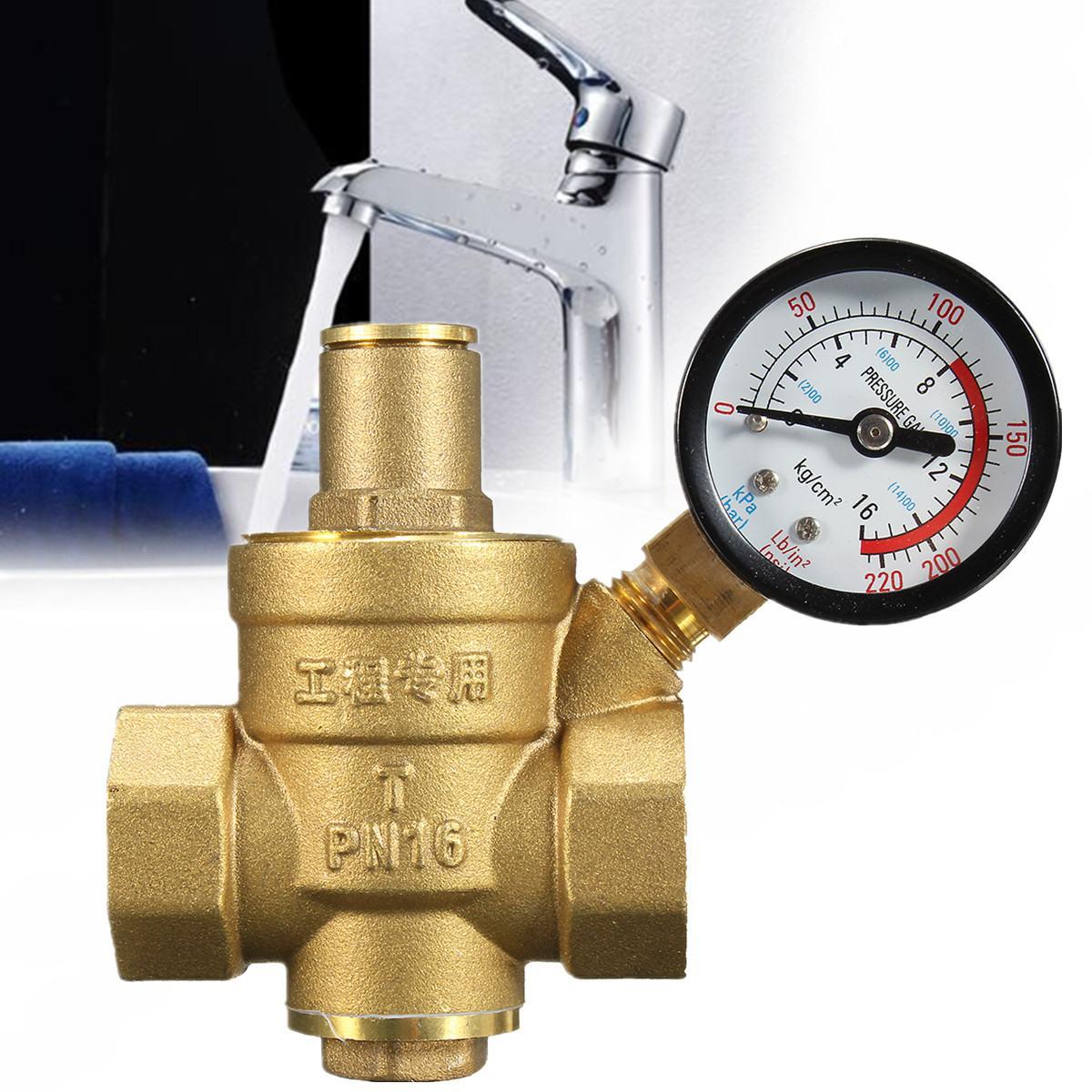 DN20 NPT 3/4'' Regulator Brass Water Pressure Regulator Reducer PN 1.6 Adjustable With Gauge Meter For Hydraulic/Water Purifier