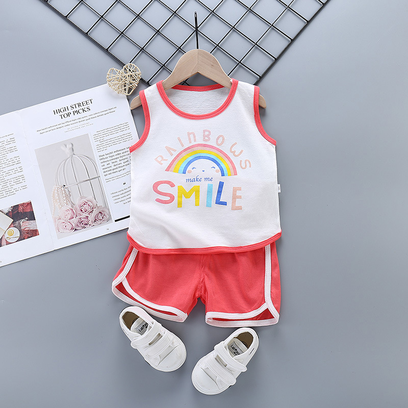 2 Pcs/Set Summer Children Boys Girls Clothes Cotton Cute Cartoon Sleeveless Vest Short Clothing Sets For Kids