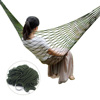 Hammock Hamaca Portable Nylon Mesh Sleeping Bed Hanging Chair For Outdoor Patio Travel Beach Leisure Swing Furniture Adult Hamac outdoor swing chair sleeping bed hammock leisure hanging daybed with canopy for adults