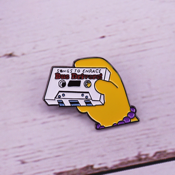 Songs to enrage bus drivers enamel pin retro mix tape badge music lover gift image