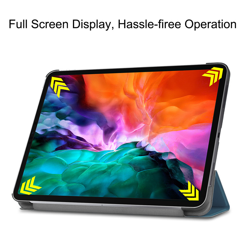 For iPad Pro 12 9 2021 Case PU Leather Folding Stand Hard PC Back Smart Cover