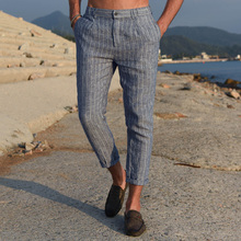 Men Spring Summer Fashion Japan Style High Quality 100% Premium Linen Slim Stripe Trousers Ankle Len