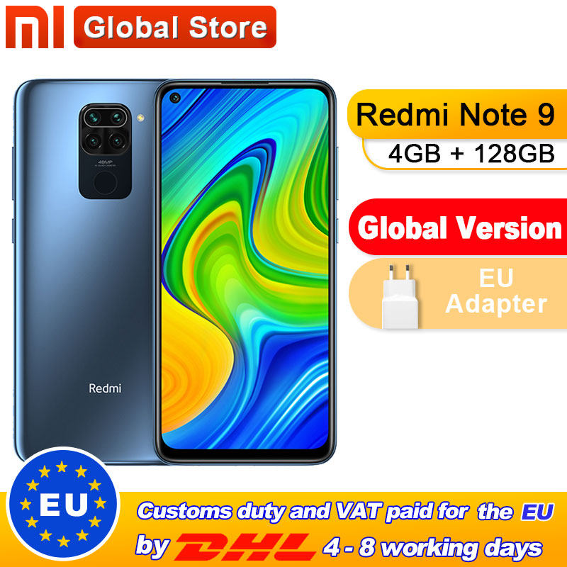 Global Version Xiaomi Redmi Note 9 4GB 128GB Smartphone MTK Helio G85 Octa Core 48MP Quad Rear Camera 6.53