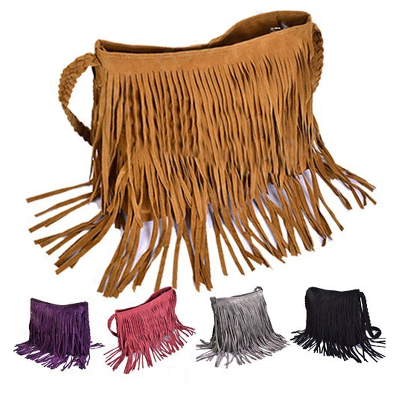 Womens Tassle Fringe Faux Suede Shoulder Messenger Crossbody Bag Handbag Purse Black Brown White
