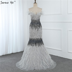 Image 4 - Dubai Design Grey Luxury Sexy Evening Dresses Crystal Feathers Off Shoulder Formal Dress 2020 Serene Hill LA70242
