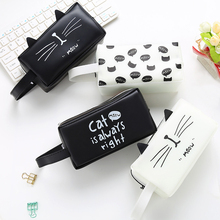 1PCS Students Creative Cartoon Zipper Pen Bag Simple Square Large Capacity Black And White