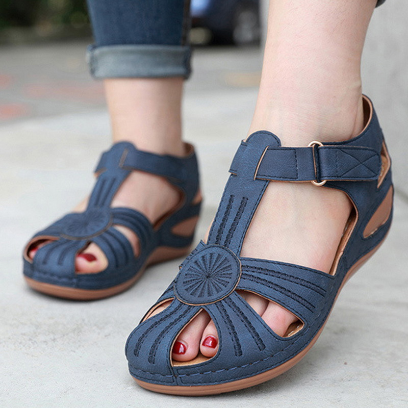 LOOZYKIT Women's Sandals Summer Ladies Girls Vintage Sandals Buckle Casual Women Shoes Solid Female Ladies Platform Shoes 2020