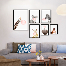 Pink Bubble Gum Giraffe Zebra Animals Canvas Painting Nursery Wall Art Print Nordic Poster Pictures For Kids Room Decorr