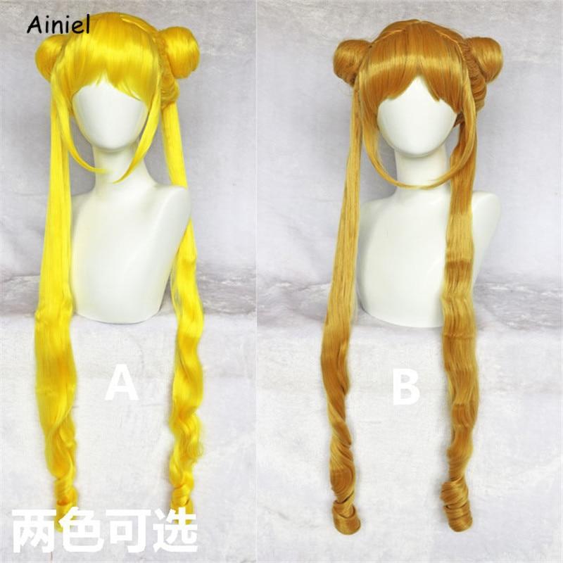 Anime Sailor moon Cosplay Wigs Orange Gold Yellow Sailor Moon Wig for Women Girls Pretty Soldier Sailor Moon Wig CosplayAnime Costumes   -