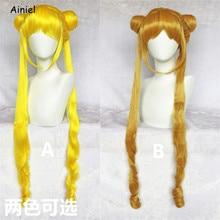 Anime sailor moon cosplay perucas laranja ouro amarelo marinheiro lua peruca para mulheres meninas bonito soldado marinheiro lua peruca cosplay
