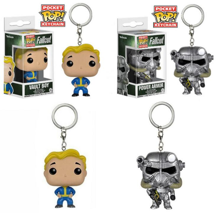 Funko POP Game Fallout Theme Pocket POP Power Armor Vault Boy Keychain Action Figure Toys Collection Keyring Party Supplies Gift