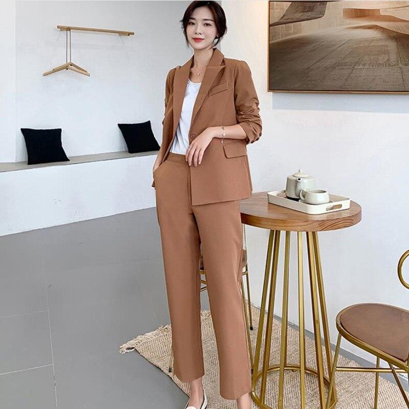 HziriP 2019 New Business Elegant Pencil Pant Suits 2 Piece Set Women Solid Blazer & Pants Office Lady Notched Jacket Formal Suit