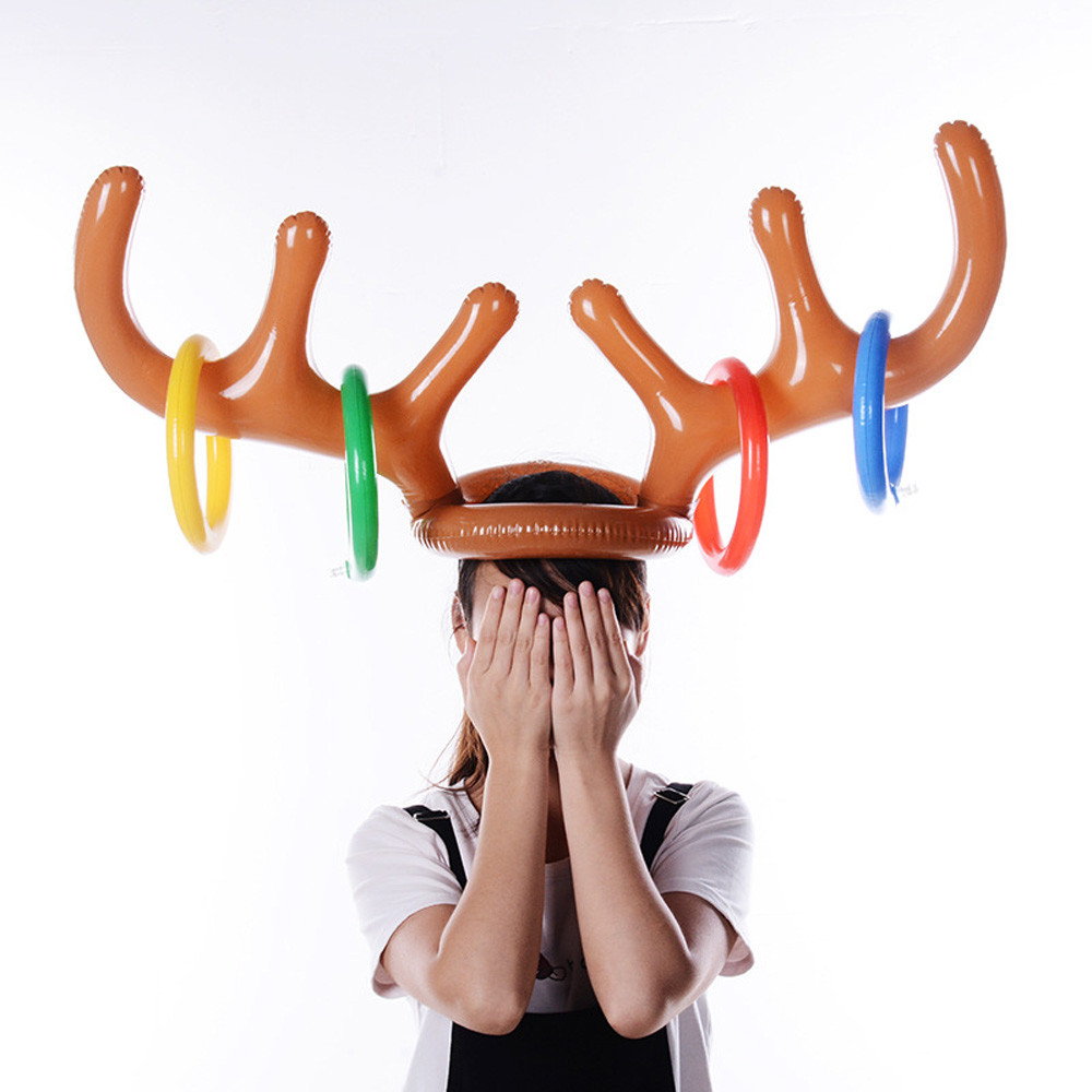 Inflatable Reindeer Hat Antler Ring Toss Party Game Toys Kid Child Christmas Gift Fun Eject