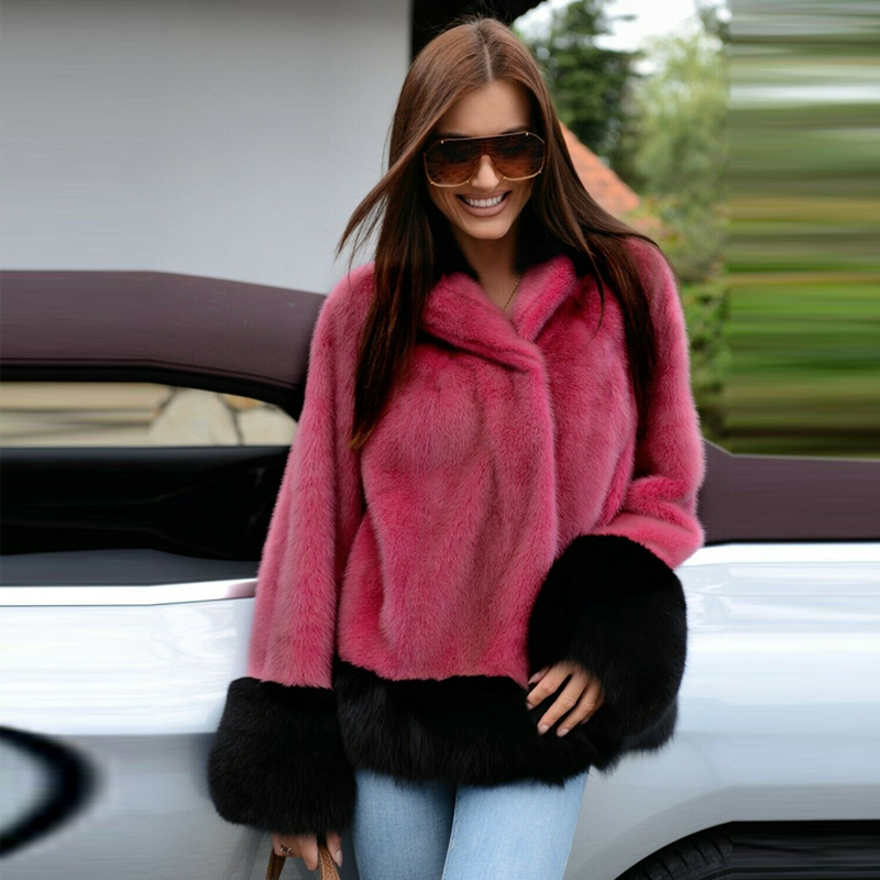 FURSARCAR 2019 New Winter Red Real Mink Fur Coats Women Genuine Mink Fur Coat With Stand Collar Elegant Mink Fur Female Jacket