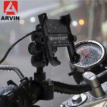 QC3.0 soporte de teléfono para motocicleta de carga rápida de aluminio, soporte para manillar de Moto, soporte para retrovisor de 4 6,5 pulgadas, montura para teléfono móvil