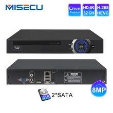 MISECU enregistreur vidéo en réseau, 2HDD, 25CH 5MP 32CH 1080P 8CH 4K, H.264/H.265 NVR DVR, Onvif 2.0, pour caméra IP 2 SATA XMEYE P2P