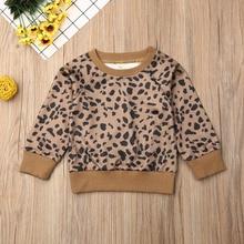 Pudcoco/Одежда для новорожденных девочек хлопковый пуловер с длинными рукавами и леопардовым принтом топы, осенняя одежда