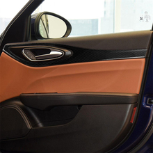 Carbon Fiber Door Decal Panel Frame Cover Trim for Alfa Romeo Giulia 2017-2019 Interior Decoration Car Accessories Car Stickers carbon fiber inner door handle bowl cover trim for alfa romeo giulia 2017 2019 interior decoration car accessories car stickers