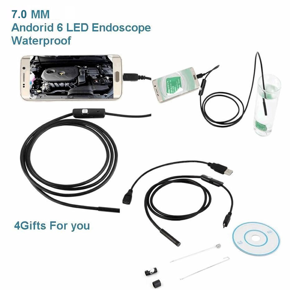 Smartphone  Endoscope Camera 7.0 Mm Cn Plug Soft Wire Usb Endoscope For Android  Mini Camera  Waterproof 6 LED Borescope Inspect