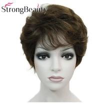 強力な美容合成古典的なショートカーリー自然なブロンド茶色かつらキャップレス女性かつら