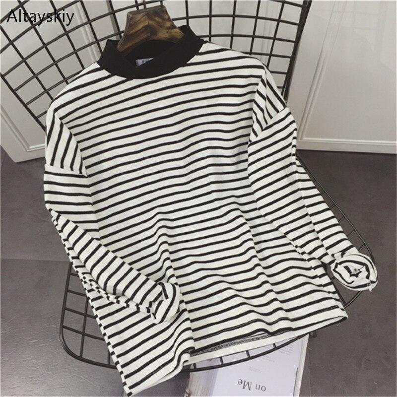 T-shirts Women Striped Loose…