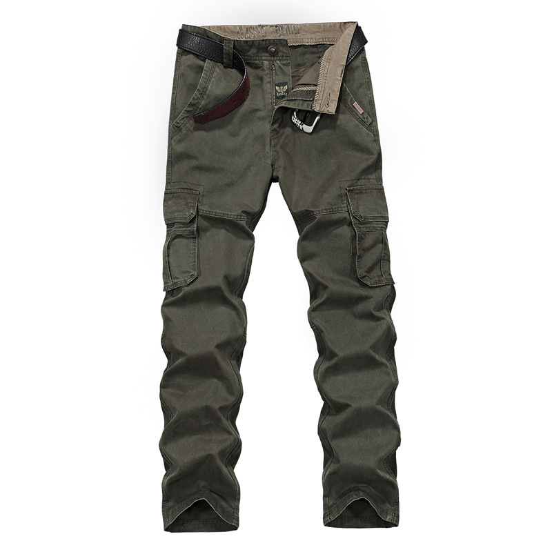 Nian Jeep NIANJEEP MEN'S Overalls Loose-Fit Pure Cotton Trousers Multi-pockets Casual Pants 2155