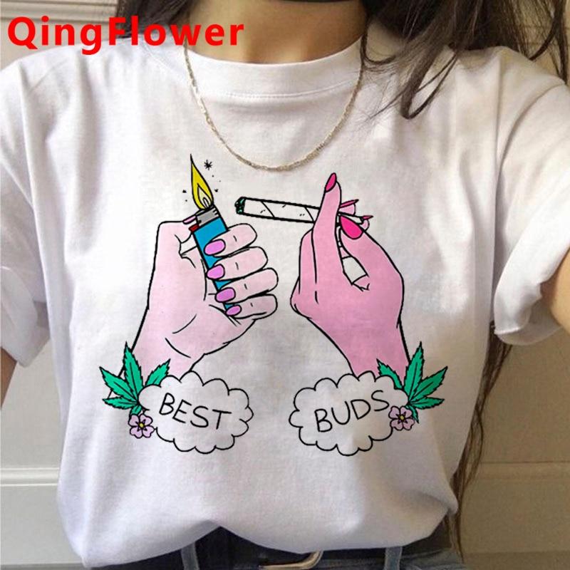 Bong Weed tshirt clothes women print harajuku streetwear clothes harajuku kawaii white t shirt 2