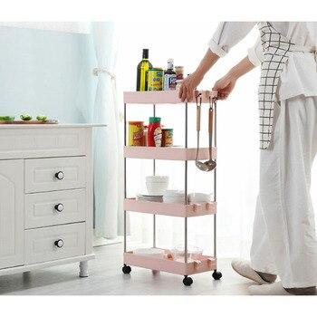2/3/4 Layer Gap estante de almacenamiento de cocina Slim Slide Tower movible ensamblado de plástico cuarto de baño ruedas de espacio ahorro organizador