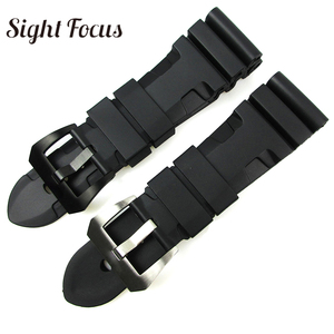 Image 1 - 24mm 26mm Dive Watch Bands for PAM Rubber Silicone Strap Pre V buckle Wrist Watch Bracelets Sport Band Div Watch Straps Orologio