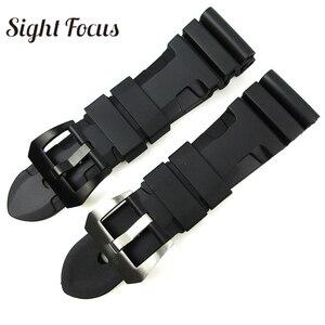 Image 1 - 24mm 26mm צלילה שעון להקות PAM גומי סיליקון רצועת Pre v אבזם שעון יד צמידי ספורט להקת Div שעון רצועות Orologio