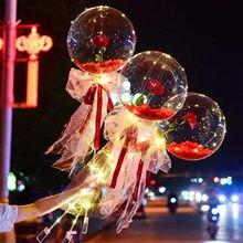 Moda gül sevgililer günü hediyeleri Led ışık balon gül buketi noel doğum günü partisi düğün dekorasyon mevcut balon