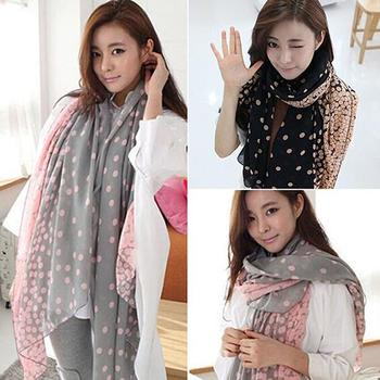 Candy Gradual Color Round Dots Scarf Women Print hair neck Square Scarves Ladies Shawl Bandanna Handkerchief muffler foulard image