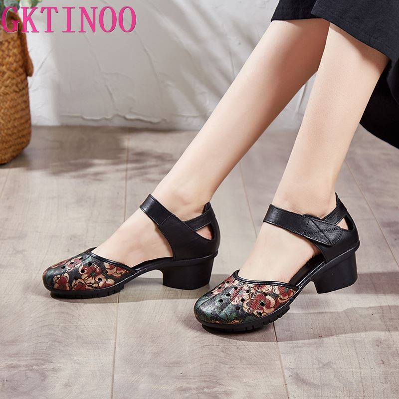 GKTINOO Ethnic Style Retro Women Sandals Fashion Closed Toe Genuine Leather Women Thick Heel Sandals Summer Mother Casual Shoes