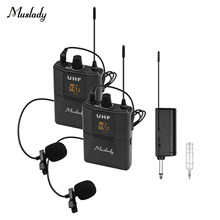 Microphone-System Transmitter-Receiver Muslady Wireless UHF with Lavalier Body-Pack
