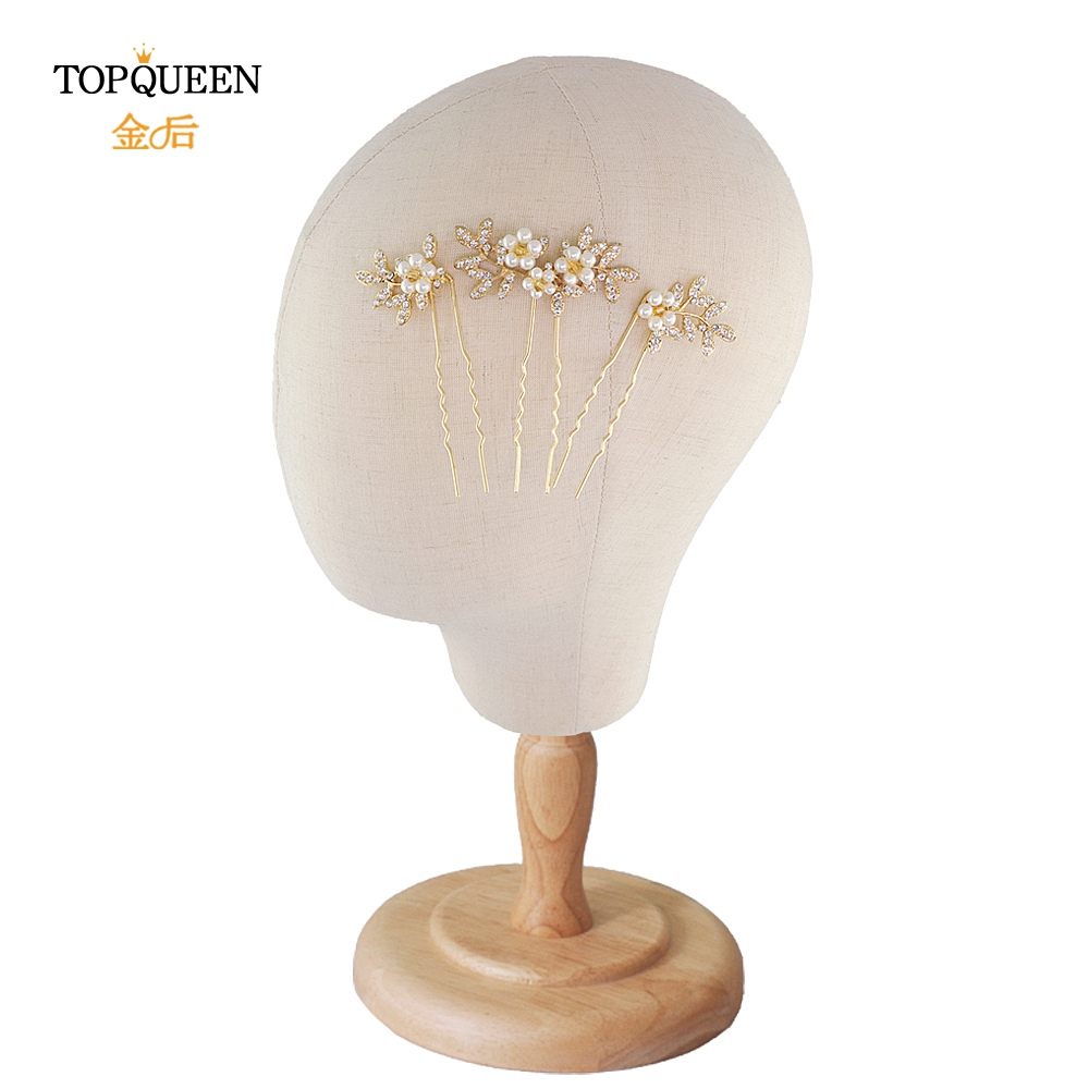 TOPQUEEN HP116 Wedding Hair Clip Handmade Gold Pearls Leaf Gold Hair Pins For Wedding High Quality Bridal Headpiece