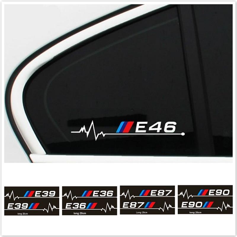 2 Pcs Car Side Window Glass Sport Performance Decals Stickers For BMW E36 E37 E38 E39 E46 E60 E61 E62 E87 E90 Car Accessories