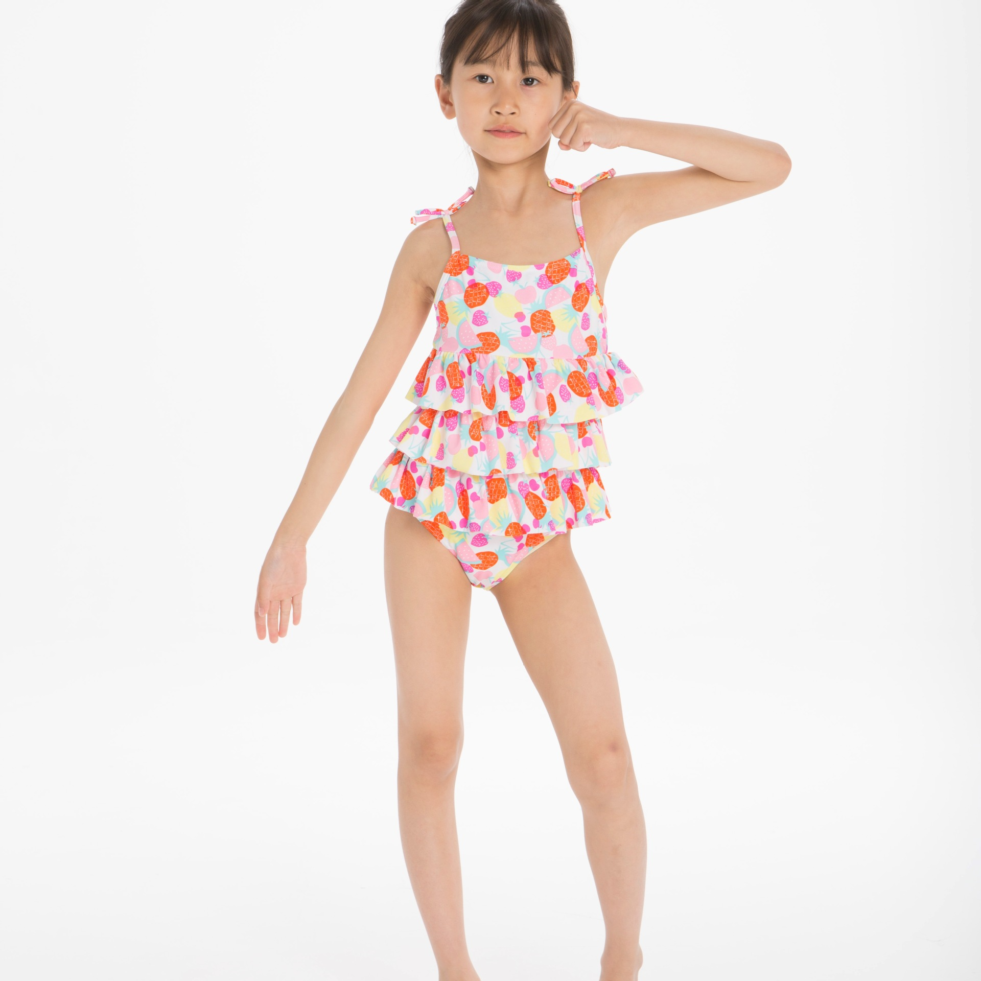 Girls Anti-UV One-piece Multilayer Flounced CHILDREN'S Swimwear Bathing Suit Cross Border Electricity Supplier