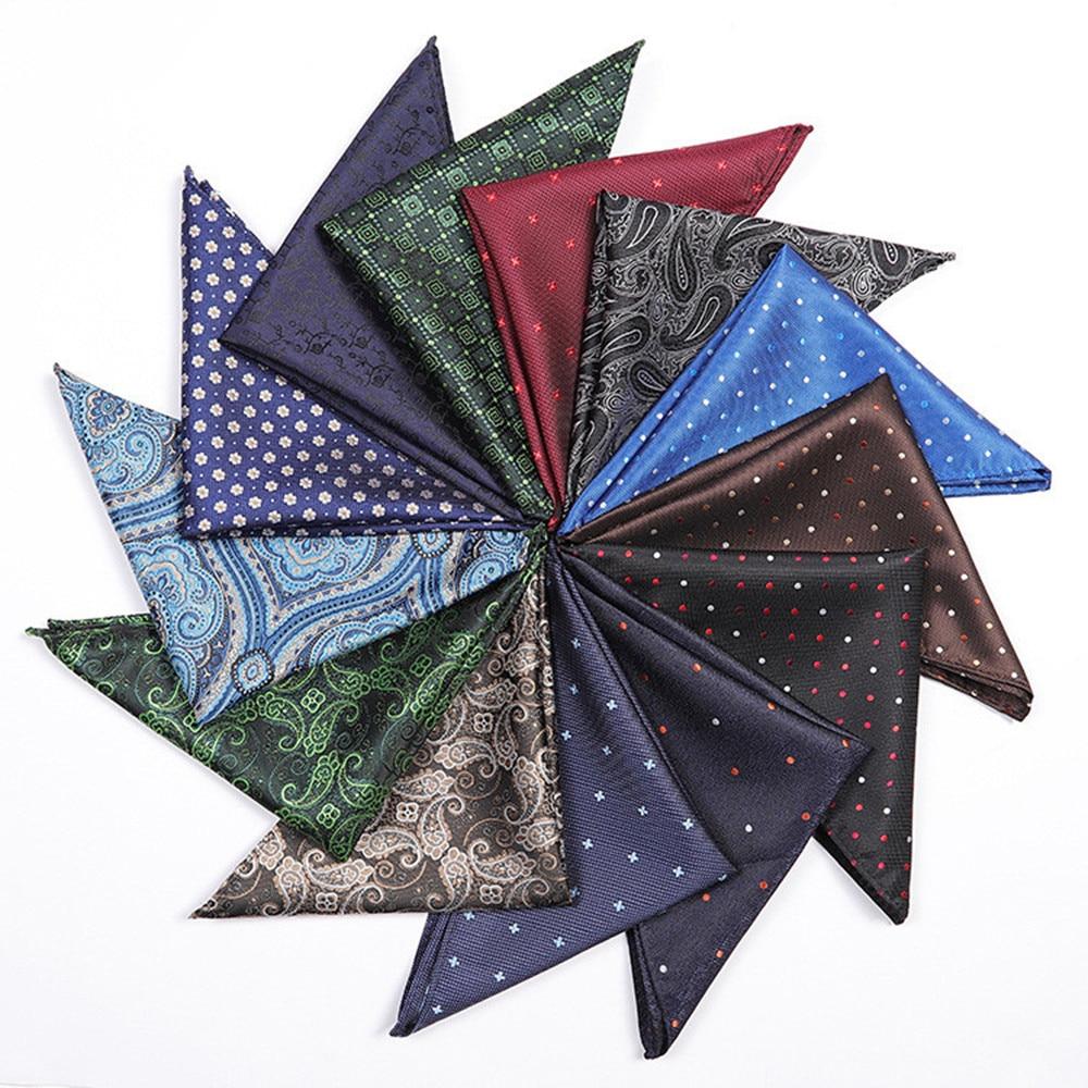 2020 New Paisley Floral Print Mens Silk Handkerchiefs Green Grey Red Gold Blue Black Yellow Men Wedding Brand Pocket Square A069