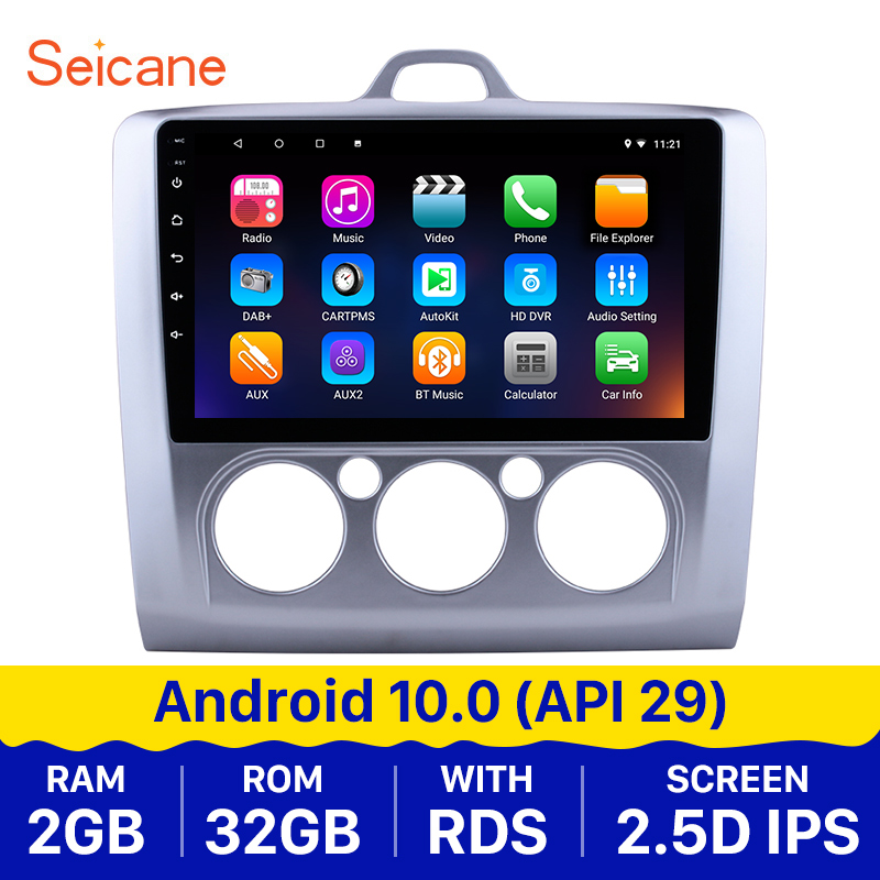 Seicane Android 10.0 9inch Car Radio Stereo GPS 2DIN Unit for 2004 2005-2011 <font><b>Ford</b></font> <font><b>Focus</b></font> Exi MT 2 3 <font><b>MK2</b></font>/MK3 car <font><b>Multimedia</b></font> Player image