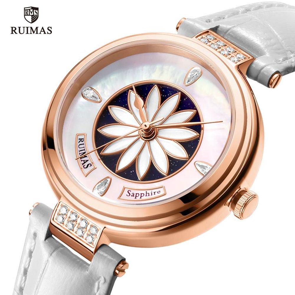 RUIMAS Ladies Mechanical Watches White Leather Automatic Watch Women Luxury Waterproof Simple Analog Wristwatch Woman Clock 6776