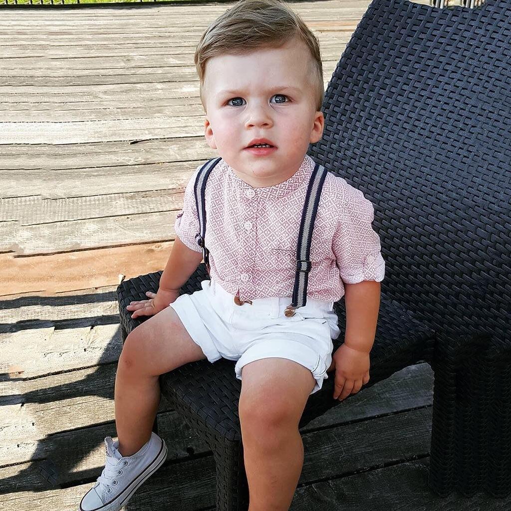 Yürüyor çocuk bebek erkek kıyafet giysileri gömlek + şort pantolon beyefendi parti elbise kısa kollu yaka 2 adet giyim seti bebek