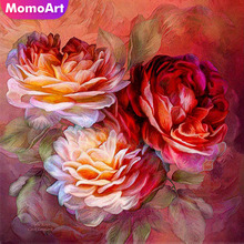 MomoArt Diamond Embroidery Flowers Painting Mosaic Full Drill Rhinestone Wall Decoration Accessories