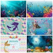 Yeele Photography Backdrops Mermaid Scales Glare Birthday Banner Baby Shower Newborn Photocall Sea Backgrounds For Photo Studio