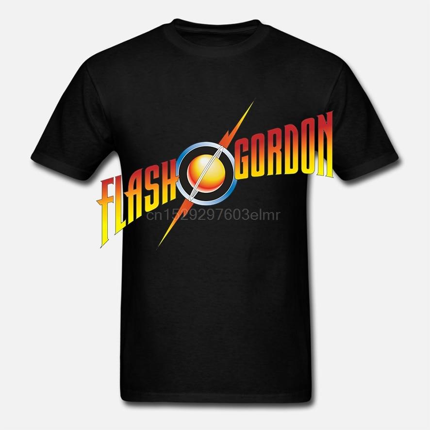 LEQEMAO Loose Cotton T-shirts For Men Cool Tops T Shirts Flash Gordon - Logo T-shirt Size S(China)