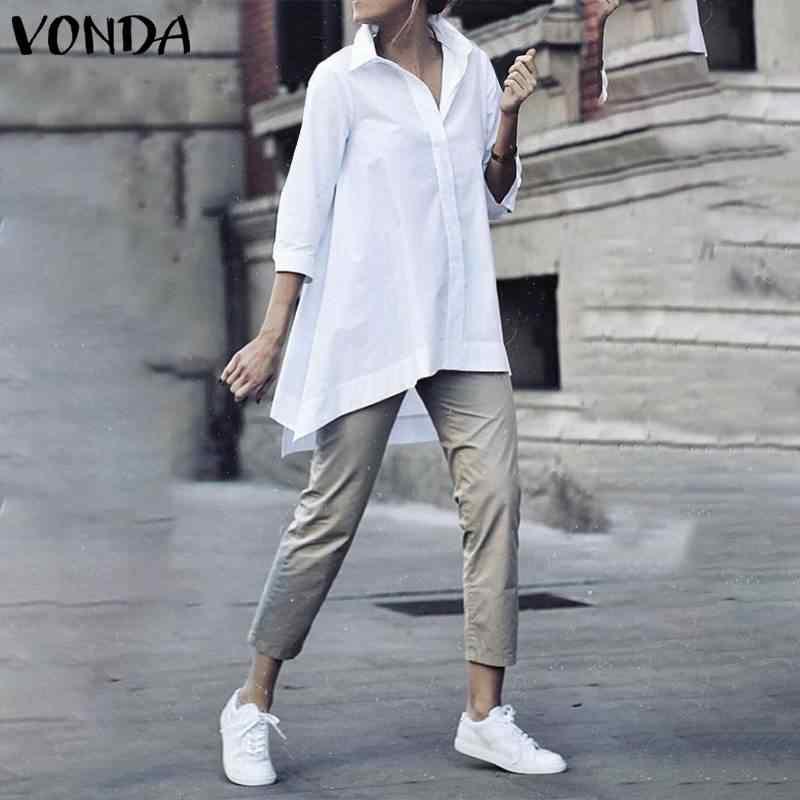 Vonda moda blusas de algodão feminino casual turn down neck camisas sólidas plus size boêmio festa blusas femme túnicas femininas